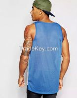 mesh fabric basketball sport color combination sleeveless shirt