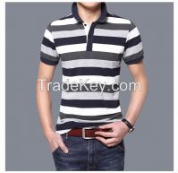 classic men's striped black and white polo stretch cotton t shirt