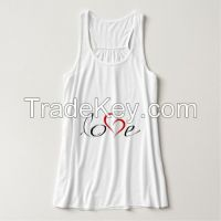 love printing plain white womens tank top loose hotsale