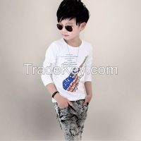 2016 latest fashion short sleeve o-neck 100 cotton print kids tshirt