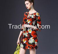 2016 latest fashion with Flower Printed designs women short cocktail party new model casual dress for wholesale
