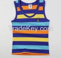 Yarn Dyed fashionable cotton boys tank top for summer clothing 2016