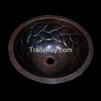 Copper Round Bath Sink Braid Design
