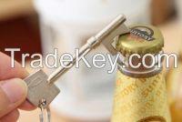 Nieuwe rvs sleutel vormige sleutelhanger flesopener gesp wijn beer soda glas cap bar tool club