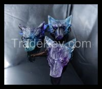 Natural Gemstone Fluorite Necklace Handcarved Wolf Head Pendant,45*33*15mm