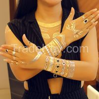 Fashion Gold & Silver Temporary waterproof Jewelry Flash Tattoos Henna