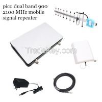 Dual band 900 2100 MHz mobile signal repeater, 2g 3g cellular booster amplifier