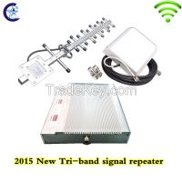 2015 new product multi band gsm 900 dcs 1800 wcdma 2100 MHz mobile signal repeater, rf 2g 3g 4g tri band repeater amplifier