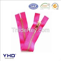 3# shiny gold metal zipper