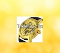 Specials Golden Skeleton Dail Black Leather Strap Automatic Mechanical Watch