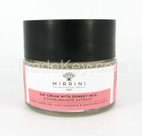 Mirrini Day Cream with Pomegranate Extract, Natural Collagen & 30% Donkey milk with Vitamins E and A, 50ml