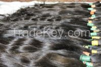 Euro style straight dark natural virgin human hair ponytails