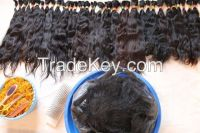 Slight wave straight coarser Uzbek hair