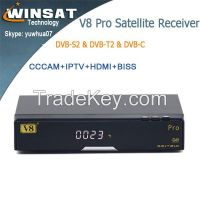 Last Version Full HD 1080P DVB-S2 DVB-T2 Set up Box V8 Pro  Support IPTV satellite receiver