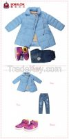Kids high quality winter warm clothes for girls 3 piece suit