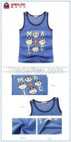 Summer boy vest with cute cartoon pattern blue boy vest