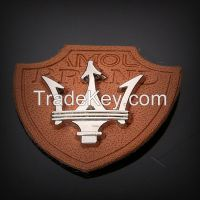 Fashion PU Leather Patch with Metal Plate