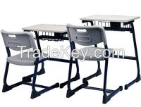Wooden Top Single School Table and Chair with PVC injection Edge and Metal Leg