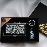 Business Card Holder and Key Ring Set with Mother of Pearl Peony - Korean Traditional Lacquerware Handcraft Souvenir