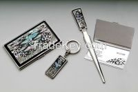 Card Case, Key Ring and Letter Opener Set with Mother of Pearl Crane Design - Korean Traditional Lacquerware Handcraft Souvenir