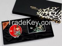 Business Card Case, Hand Mirror Set with Orchid Design - Korean Traditional Lacquerware Handmade Present