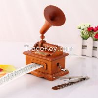 Homemade Songs wooden custom made hand crank gramophone music box
