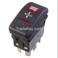 X5 Series (X5-264E4W-1ABD-7F)  heavy duty sealed rocker switch, multi circuit, various actuator, up to 20(8)a, 125/250v ac/16a dc 30v, automotive switch