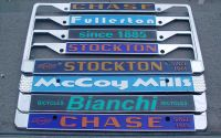 Zinc die-cast license plate frames: USA and European