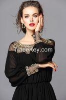 New Design Chiffon Fabric Baju Kurung Muslim Dress