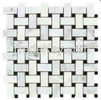 "Carrara Venato Basketweave Mosaic Tile (1x2\"")"