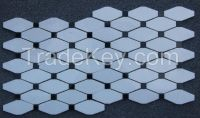 Carrara Marble Italian White Bianco Carrera Long Octagon Mosaic Tile with Bardiglio Gray Dots Honed