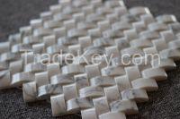 Venato Carrara tile, Mosaic, square with flower pattern