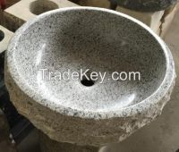 Round Stone Vessel, White Granite, Rough Exterior