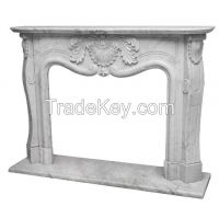 Natrual Marble Natural Stone Carrara White Fireplace