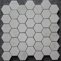 Carrara White MosaicTile White Marble Mosaic 2 Hexagon Polished