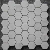 Carrara White MosaicTile White marble mosaic; hexagon polished