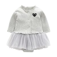 Heart EMB knitted Cotton princess Infant toddlers newborn baby girls clothes rompers sets wholesale