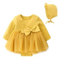 Newly thermal cotton fabric baby clothes beauty bow design long sleeve infant girl romper dress with hat