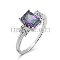 Charm Rectangle Gemstone Silver Wedding Ring