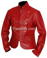 CLASSIC VINTAGE RED BRANDO WOMEN'S BIKER LEATHER JACKET