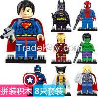 Hot sale 8pcs/set Minifigures The Avengers Superman Batman Hulk Captai