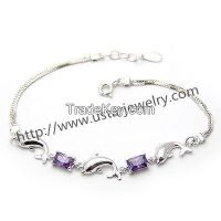 Diamond Silver Bracelet Cute Female Dolphin Jewelry