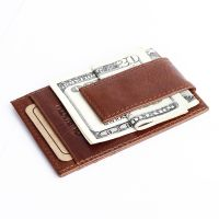 Men's Leather Magnet Money Clip Credit Card Case Holder