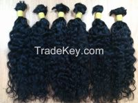 Vietnamese best wholesale price for 100% natural wavy/curly bulk hair 10- 30 inches with highest quality
