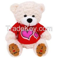 Plush Bear Toy in 3 Color with Gold Ribbon as Nice Gift for Baby Kids