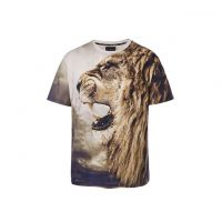 Stylish men's round collar T-shirt 3D lion man T-shirt Custom Made Available