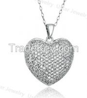 Lady Heart 46mm Silver Pendant Necklace with diamond