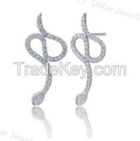 Snake Shape Lady S925 Sterling Silver Pendant Necklace with CZ