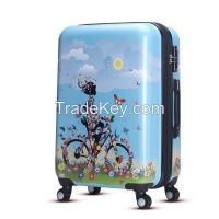 WAO new fashion in 2016 printing abs pc trolley luggage set