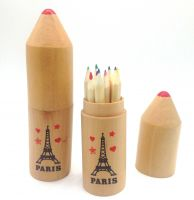 high quality rocket woodcase with 12 color pencils